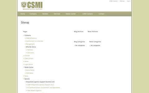 Screenshot of Site Map Page csmi.com - Sitemap | csmi.com - captured May 13, 2017