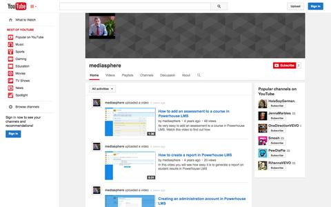 Screenshot of YouTube Page youtube.com - mediasphere  - YouTube - captured Oct. 22, 2014