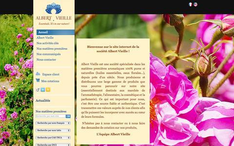 Screenshot of Home Page albertvieille.com - Producteurs matières premières aromatiques, huiles essentielles et eaux florales - Albert Vieille - captured Sept. 23, 2014