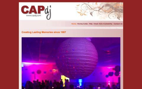 Screenshot of Home Page capdj.com - CAP DJ - Milwauke, WI Wedding DJ and Entertainment - captured Sept. 3, 2015