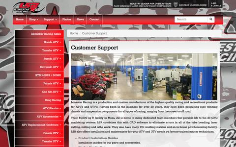 Screenshot of Support Page lsracing.com - Customer Support for ATV UTV aftermarket racing parts - Lone Star Racing - captured Feb. 1, 2016