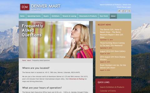 Screenshot of FAQ Page denvermart.com - Frequently Asked Questions | Denver Mart - captured Oct. 9, 2014