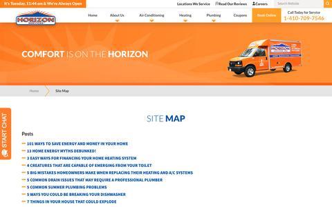 Screenshot of Site Map Page horizonservices.com - Site Map | Horizon Services - captured Nov. 12, 2019