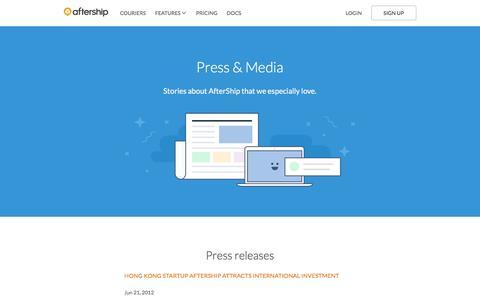 Screenshot of Press Page aftership.com - Press & Media - AfterShip - captured July 3, 2016