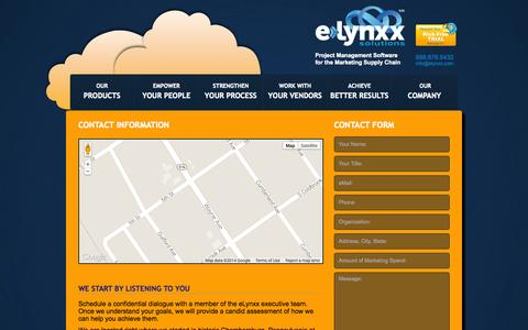 Screenshot of Contact Page elynxx.com - Contact information | eLynxx Solutions - captured Oct. 31, 2014
