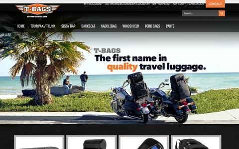 Screenshot of Home Page tbags.com - T-Bags - custom motorcycle luggage Home page - captured Feb. 28, 2016