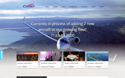 Screenshot of Home Page capjets.com - CapJet - The Aviation Professionals - captured Oct. 1, 2014
