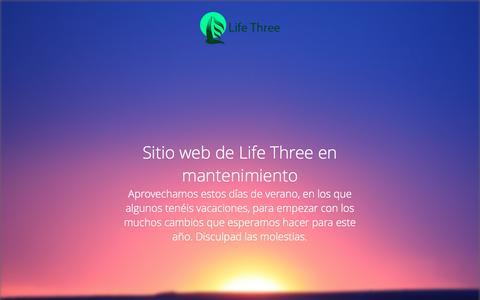 Screenshot of Home Page lifethree.org - Sitio web de Life Three en mantenimiento - captured July 22, 2015