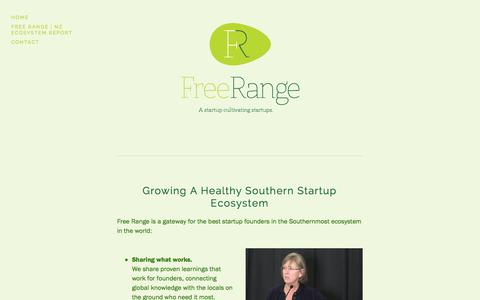 Screenshot of About Page freerangefarm.co.nz - Free Range - Welcome to the Southernmost Startup Ecosystem — Free Range - captured Oct. 6, 2014