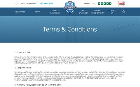 Screenshot of Terms Page airconco.com - Terms and Conditions   The Air Conditioning Company - captured Dec. 3, 2016