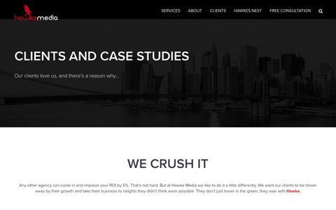 Screenshot of Case Studies Page hawkemedia.com - CLIENTS NEW – Hawke Media - captured July 12, 2016