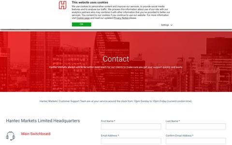 Screenshot of Contact Page hantecfx.com - Contact Us – Hantec Markets: Forex Brokers & CFD Brokers - Hantec Markets - captured July 12, 2018