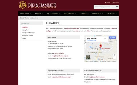 Screenshot of Contact Page Locations Page bidandhammer.com - Locations - Bid & Hammer - captured Feb. 28, 2017