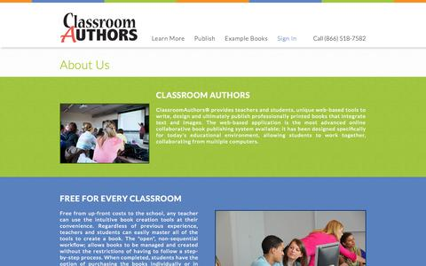 Screenshot of About Page classroomauthors.com - About Classroom Authors - captured Sept. 29, 2014