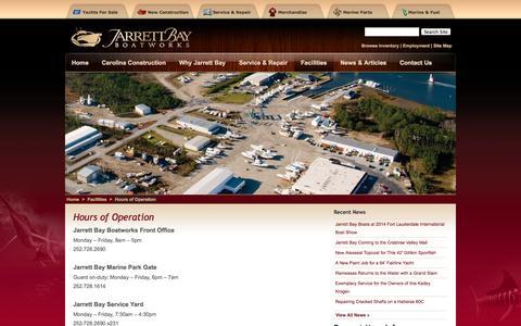 Screenshot of Hours Page jarrettbay.com - Hours of Operation | Jarrett Bay Boatworks - captured Oct. 6, 2014