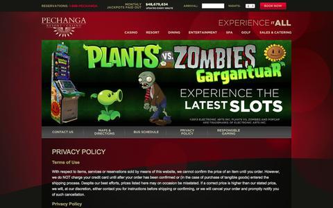 Screenshot of Privacy Page pechanga.com - Privacy Policy - Pechanga Resort & Casino - captured Oct. 31, 2014