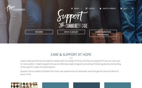 Screenshot of Support Page sharethehope.org - Support & Community Care | Hope Church - captured Sept. 2, 2017