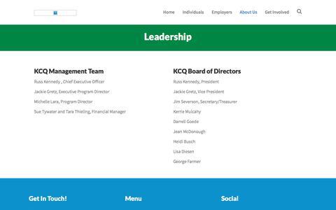 Screenshot of Team Page kcqinc.com - Leadership – KCQ, INC - captured Sept. 20, 2018