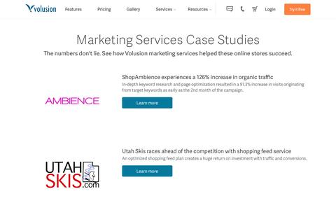 Screenshot of Case Studies Page volusion.com - Volusion Ecommerce Marketing Services Success Stories - captured March 18, 2016