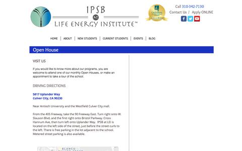 Screenshot of Contact Page Maps & Directions Page mylei.org - VISIT IPSB at Life Energy Institute - captured Oct. 12, 2018