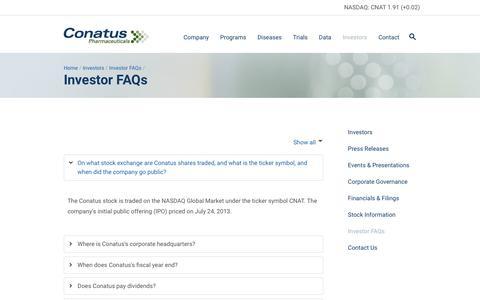 Screenshot of FAQ Page conatuspharma.com - Conatus Pharmaceuticals » Investor FAQs - captured Feb. 21, 2016