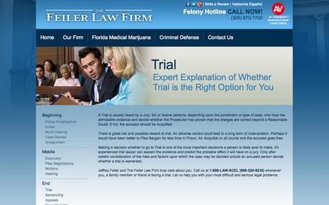 Screenshot of Trial Page jeffreyfeiler.com - Trial - The Feiler Law Firm - captured Oct. 6, 2014