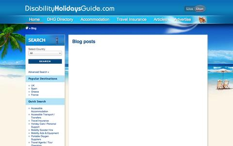 Screenshot of Blog disabilityholidaysguide.com - Disability Holidays Guide |  Disabled Holidays and Wheelchair Accessible Accommodation Worldwide - captured Oct. 5, 2014