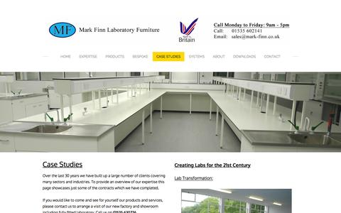 Screenshot of Case Studies Page mark-finn.co.uk - Lab Furniture and Installation Case Studies - Laboratory Furniture By Mark Finn - captured Feb. 12, 2016