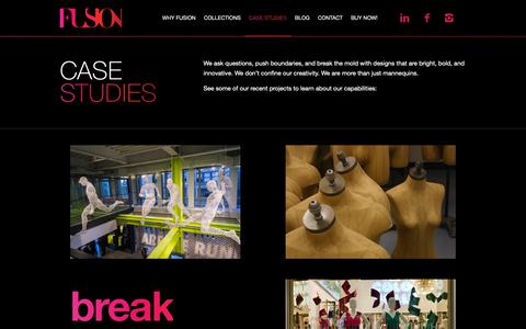 Screenshot of Case Studies Page fusionspecialties.com - Case Studies - Fusion Specialties - Custom Designed Mannequins and Forms - captured Dec. 19, 2018