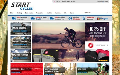 Screenshot of Home Page startcycles.co.uk - Cycling | Clothing | Parts | Accessories | Bike Shop | Start Cycles - captured Oct. 1, 2014
