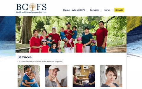 Screenshot of Services Page discoverbcfs.net - Services   Discover BCFS - captured Oct. 4, 2018