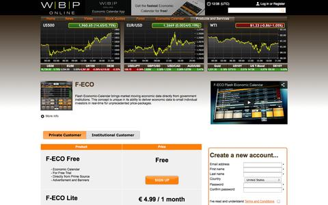 Screenshot of Products Page wbponline.com - WBP Online - Fastest Economic Calendar, F-ECO - captured Oct. 26, 2014