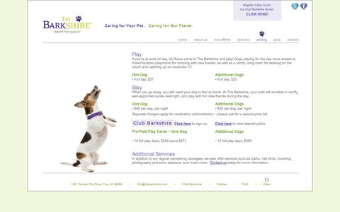 Screenshot of Pricing Page thebarkshire.com - Pricing | The Barkshire: Resort for Paws - Michigan's Premier Dog Resort - captured Oct. 9, 2014