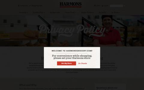 Screenshot of Privacy Page harmonsgrocery.com - Privacy Policy - captured July 11, 2016