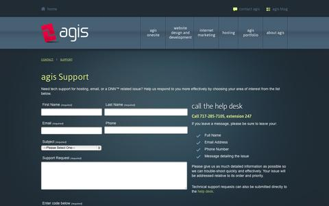 Screenshot of Support Page ag-is.com - agis internet marketing > Contact > Support - captured Oct. 4, 2014