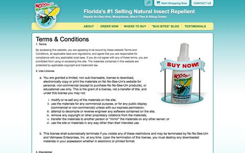 Screenshot of Terms Page nonoseeum.com - Noseeum repellent - Natural bug spray & insect repellent for noseeums & mosquitoes - captured Oct. 7, 2014