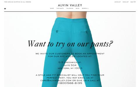 Screenshot of Contact Page alvinvalley.com - Alvin Valley - Pants Perfected. Flawless Fit - captured Sept. 30, 2014
