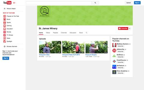Screenshot of YouTube Page youtube.com - St. James Winery  - YouTube - captured Oct. 26, 2014