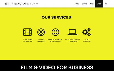 Screenshot of Home Page streamstay.com - Streamstay : Full Service Film & Video Production for Business : London, EnglandStreamstay : Full Service Film & Video Production for Business : London, England » Best in class video content and production services for business. - captured Oct. 8, 2014