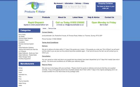 Screenshot of Terms Page products4water.co.uk - Terms of Use - Welcome to PRODUCTS4WATER - captured Sept. 30, 2014
