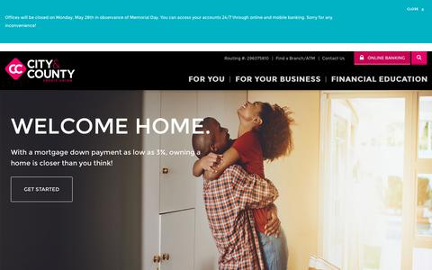 Screenshot of Home Page cccu.com - City & County Credit Union - St. Paul Credit Union - CCCU - captured May 28, 2018