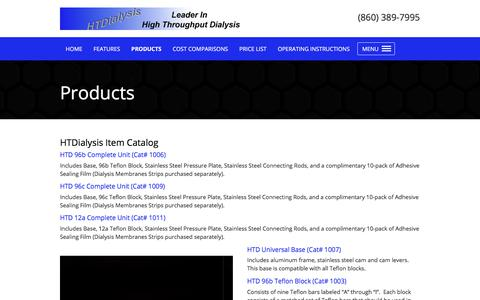 Screenshot of Products Page htdialysis.com - HTDialysis - captured Sept. 26, 2018