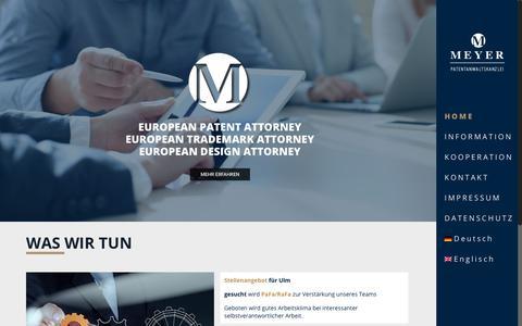 Screenshot of Home Page patent-meyer.com - Home - Meyer Patentanwaltskanzlei - captured June 27, 2018