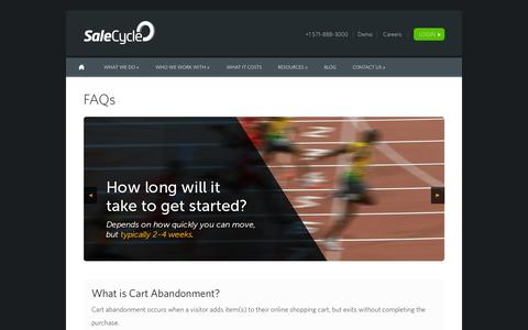 Screenshot of FAQ Page salecycle.com - FAQs -SaleCyle - captured Oct. 1, 2015