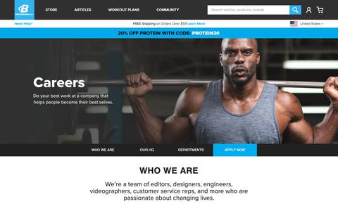 Screenshot of About Page Jobs Page bodybuilding.com - Bodybuilding.com Career Opportunities! - captured March 14, 2019