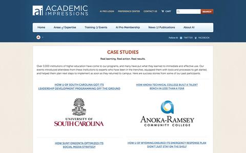 Screenshot of Case Studies Page academicimpressions.com - Academic Impressions - captured July 24, 2016
