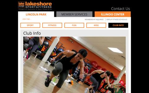 Screenshot of About Page Maps & Directions Page Hours Page lakeshoresf.com - Club Info | Lakeshore Sport & Fitness - captured Sept. 25, 2014