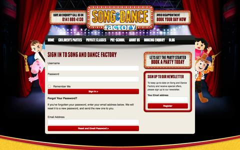 Screenshot of Login Page songanddancefactory.com - Song and Dance Factory :: Login - captured Oct. 9, 2014