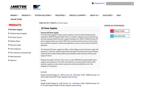 Screenshot of Products Page powerandtest.com - DC Power Supplies - captured Oct. 24, 2018