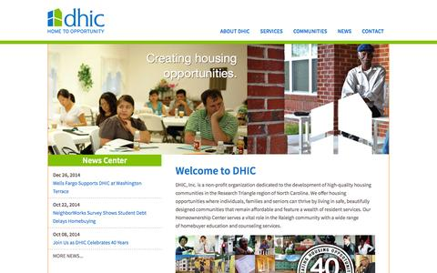 Screenshot of Home Page dhic.org - DHIC - Home To OpportunityDHIC | Home To Opportunity - captured Jan. 28, 2015